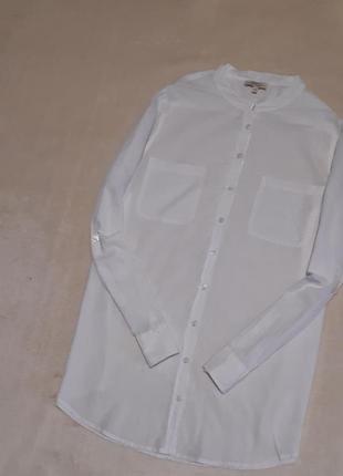 Белая натуральная тонкая рубашка вышивка ришелье прошва длинный рукав papaya р.18
