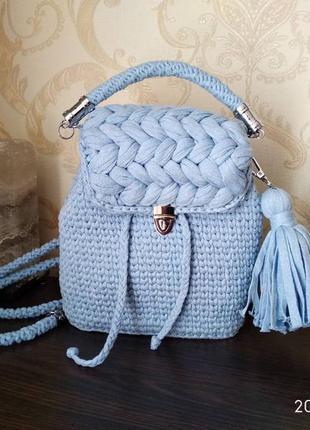 Вязаний рюкзак з косами, зефірка, трикотажний