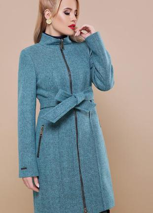 Бирюзовое пальто на молнии