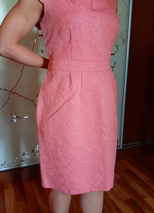 Нежное хлопковое розовое платье футляр