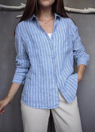 Льняная синяя рубашка белые полоски длинный рукав marks&spencer р.14