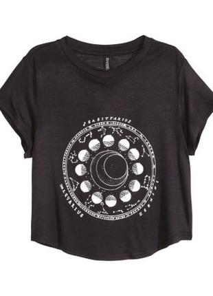 Чёрный кроп топ футболка майка с принтом sagittarius