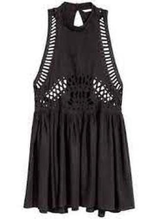 Черное пляжное платье с шитьем из вискозы