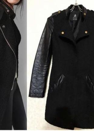 Пальто стеганные кожаные рукава в рубчик драповое бесплатная лоставка
