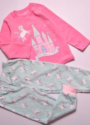 Теплая красивая плюшевая пижамка, флісова піжама єдинорожки для дівчинки primark 98