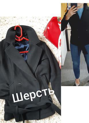 Актуальное черное шерстяное пальто/жакет под пояс,neologie/франция,  р. 36-38