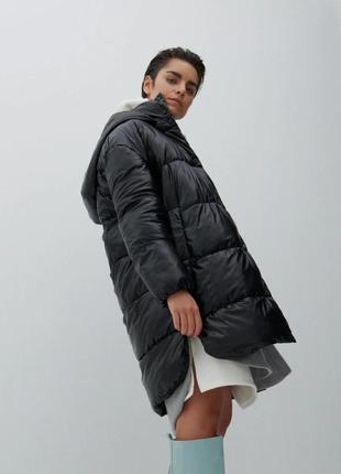 Стеганое пальто с капюшоном xs-xxl