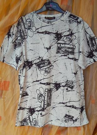 Белая мужская футболка ,, мужская футболка с принтом