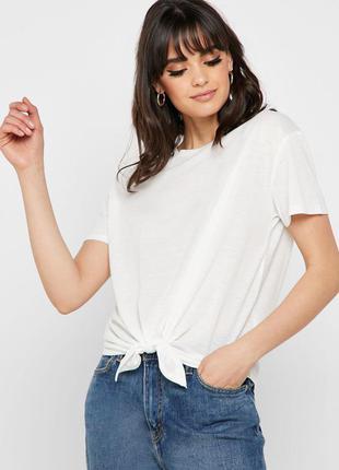 Белая футболка с завязками спереди new look