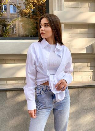Удлиненная базовая  рубашка из хлопка