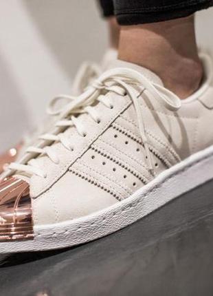 Кроссовки adidas superstar 80's metal toe кремового цвета кожаные с металическим носочком
