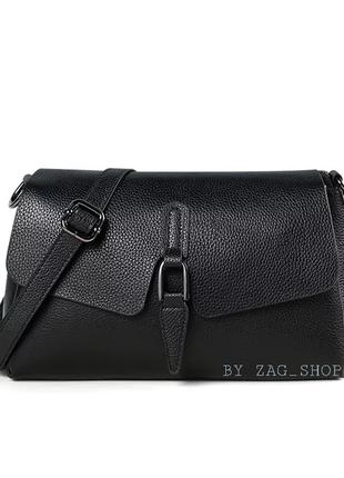 Универсальная женская кожаная сумка на плечо чёрная жіноча сумка натуральна шкіра