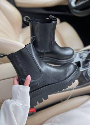 Bottega veneta low black женские ботинки без меха