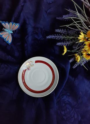 Блюдце кофейное барановке ссср фарфор ручная роспись позолота винтаж советское барановского фарфорового