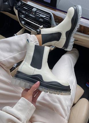Bottega veneta low low beige женские ботинки без меха
