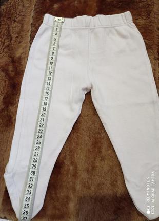 Белые штанишки с розовым оттенком для новорожденного 0-3 мес.