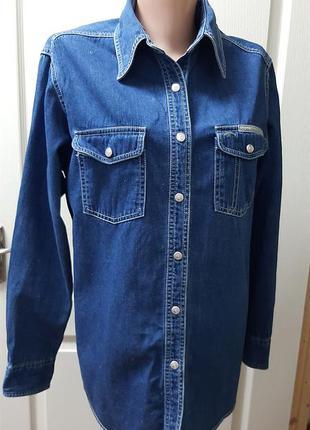 🍁🌳🍁 крутая джинсовая рубашка красивого тёмно-синего цвета