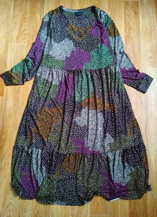 Шикарное ярусное миди платье
