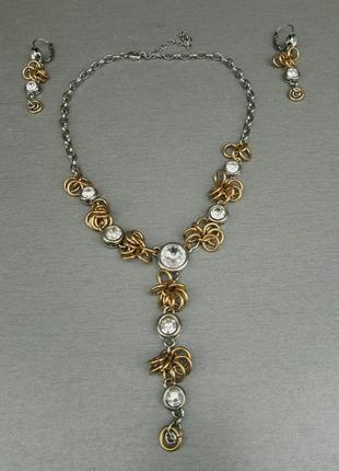 Набор бижутерии женский колье и серьги с камнями