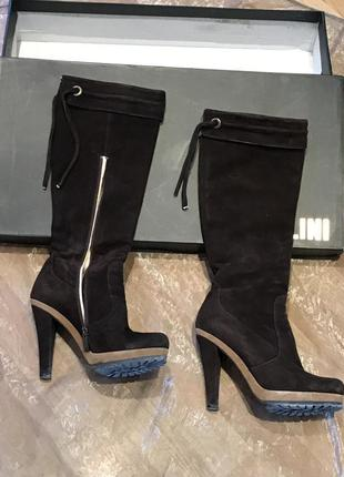 Fellini оригинал, высокие замшевые сапоги, каблук, платформа
