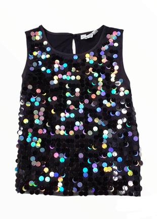 Блуза нарядная с голографическими пайетками h&m на 10-11лет