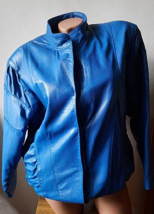 Куртка кожаная синяя