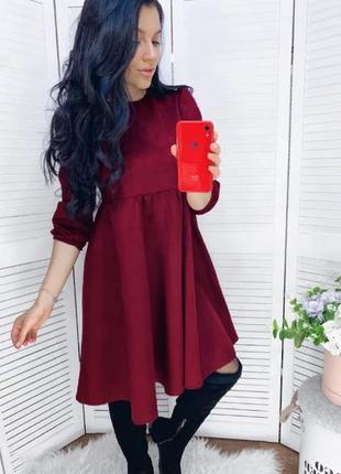 Замшевое платье свободного кроя