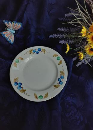 Тарелка пирожковая десертная ссср барановка ручна роспись винтаж советская барановский фарфор