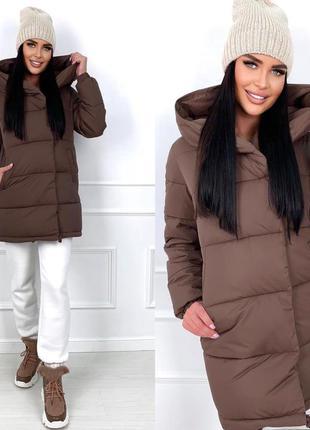 Тёплая удлиненная куртка пуховик с капюшоном и карманами мо