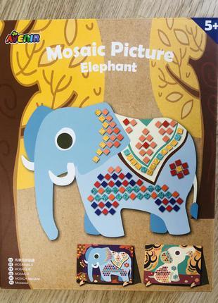 Набор для детского творчества avenir. мозаика, наклейки. слоник