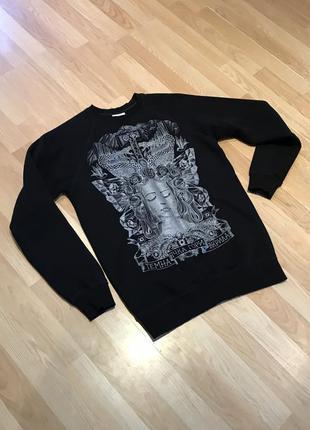"Оверсайз свитшот, лонгслив, пуловер. большой принт ""темна нічка гори вкрила"""