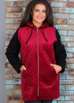 Теплая женская куртка из пальтового велюра на синтепоне и трикотажа тринитка (425 красная)