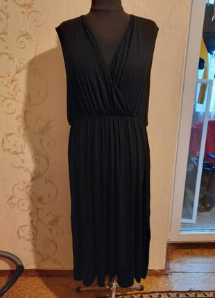 Батальный легкий черный комфортный длинный сарафан платье черное