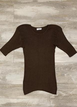 Шелковая трикотажная футболка в рубчик franco callegari, 100% шелк.