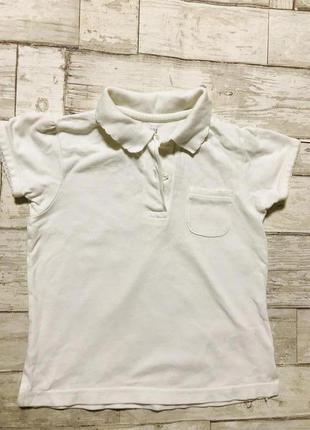 Белая футболка с воротником для девочки