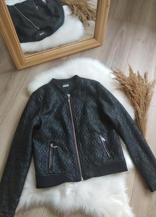 Pinkie чорна стьогана куртка косуха бомпер жакет з еко шкіри деміжсезонна