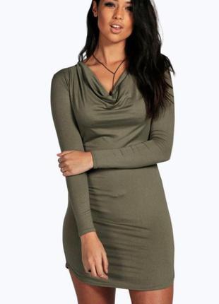 Облегающее платье с длинным рукавом boohoo большой размер