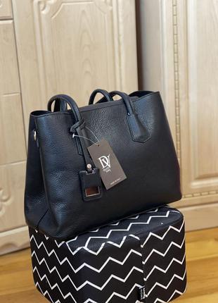 Кожаная сумка чёрная diva's bag італія шкіряна сумка