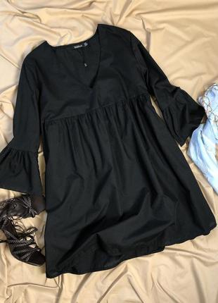 Чёрное платье зефирка babydoll boohoo