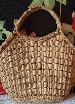 Большая плетеная соломеная сумка