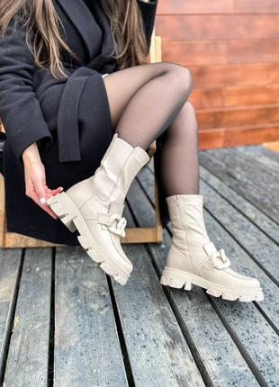 Женские зимние трендовые шикарные бежевые утепленные сапожки челси из натуральной кожи с мехом жіночі стильні бежеві черевички із натуральної шкіри