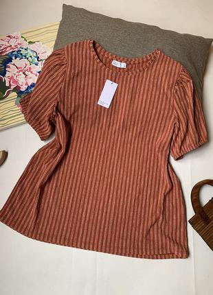 Блуза в полоску papaya пышный рукав офисная летняя пляжная