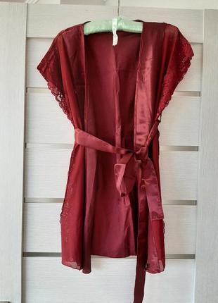 Бордовый легкий халатик полупрозрачный