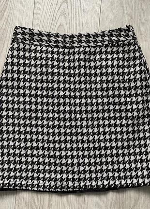 Тёплая юбка в гусиную лапку на подкладке