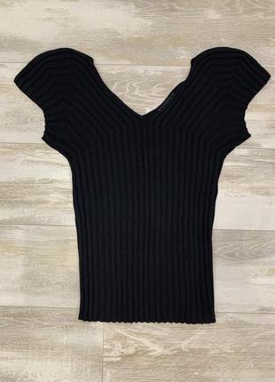Шелковый трикотажный топ футболка в рубчик laurel escada 100% шелк.