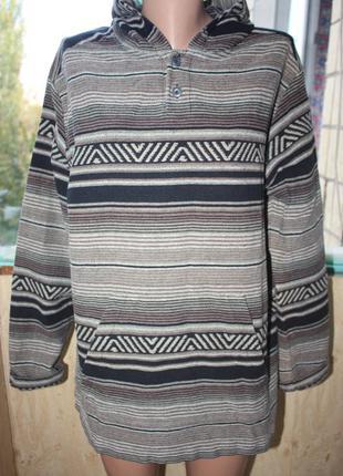 Кофта худи с капюшоном в орнаментах бохо этно