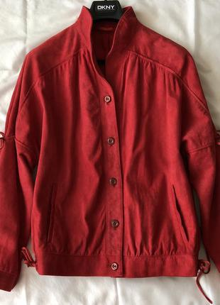 Куртка бомбер из велюровой кожи. винтаж.