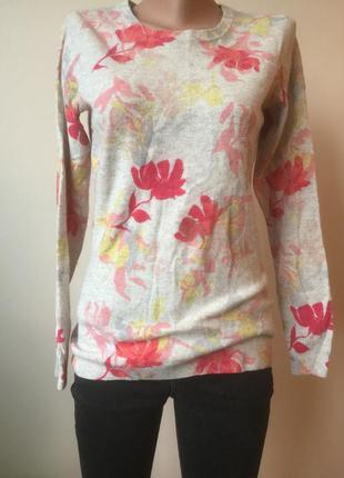 Кашемировый свитер с цветочным принятом