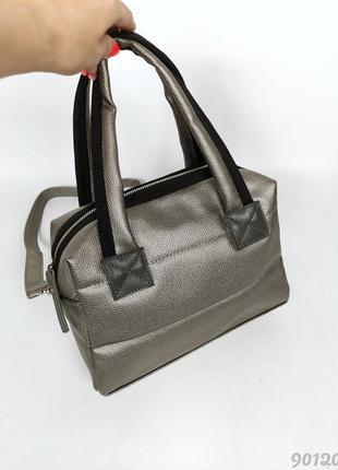 Сіра металік супер сумка дута жіноча, женская серебристая дутая сумка стеганная