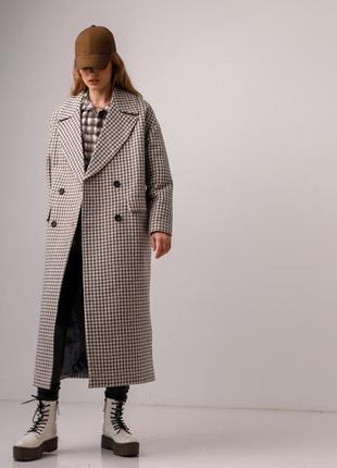 Деми пальто в гусиную лапку, серо-бежевый
